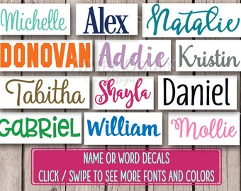 Name Decal / Vinyl Name Decal / Name Sticker / Personalized Decal / Word Decal / Custom Name Decal / Name Label / Kids Waterproof Decal