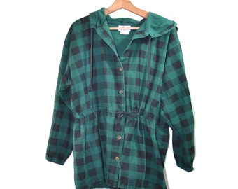 Vintage Plaid Jacket Camp Jacket Green Black Checkered Jacket 80s Plaid Jacket