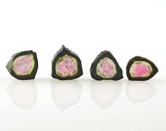 Watermelon Tourmaline Four Slices Polished 10.95 carats