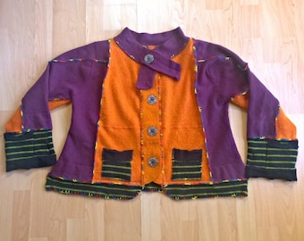 Upcycled Clothing/Sweater Jacket/Festival Clothing/Funky Clothing/Boho Clothing/Unique Clothing/Hippie Style/Knitwear/Wool/Felted/For Women