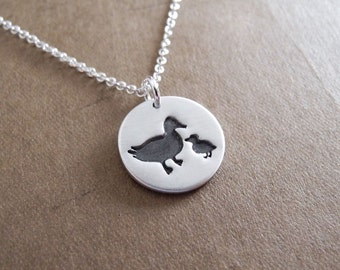 Small Mother and Baby Duck Necklace, New Mom Necklace, Mother and Child, Duckling, Fine Silver, Sterling Silver Chain, Made To Order
