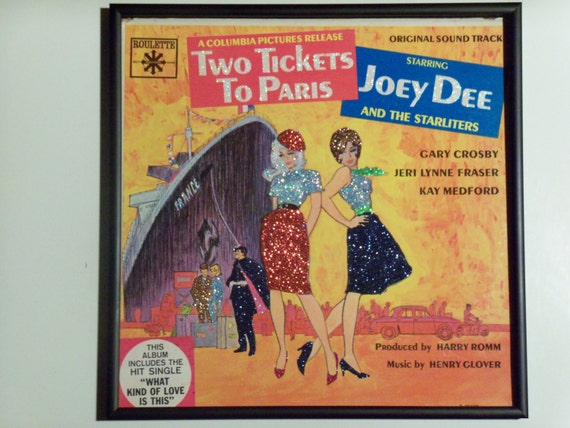 Glittered Record Album - Two Tickets to Paris - Movie Soundtrack