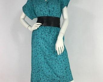 60s midi dress/1960s teal midi dress