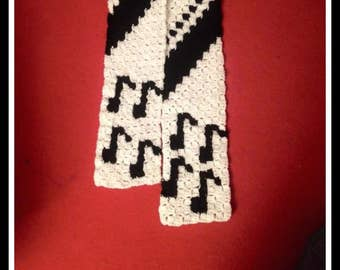Musical Notes Scarf, Crochet Pattern