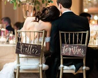 Bride & Groom Wedding Decor Chair Signs