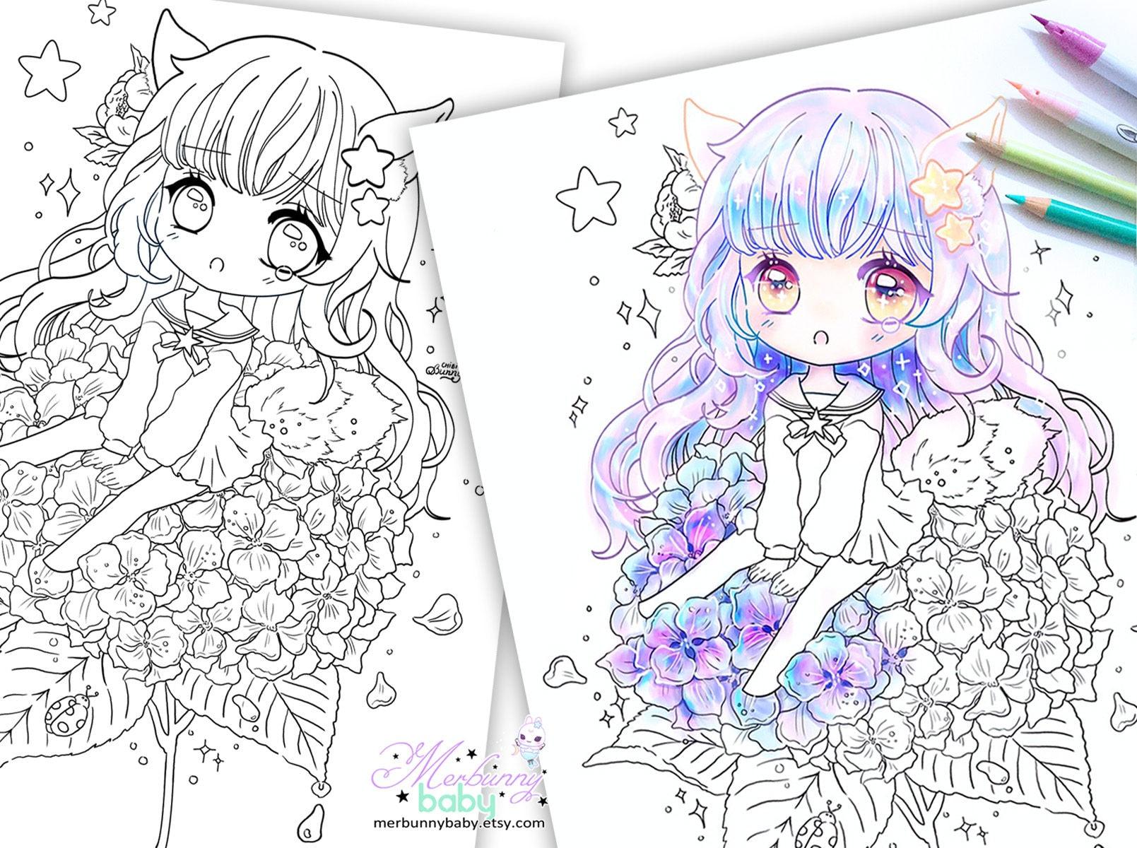 Ausmalbilder Manga Mädchen : Chibi M Dchen Auf Hortensie Malvorlagen S E Anime Manga