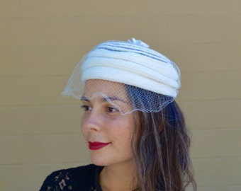 Vintage 50s Cream Off White Womens PILLBOX Hat with LACE VEIL  Wedding