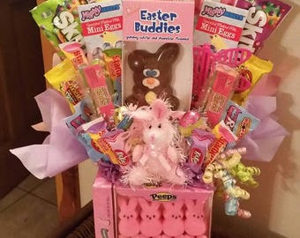 Pink Bunny Peeps Happy Easter Candy Bouquet Easter Candy