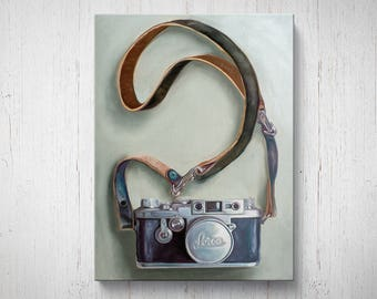 Vintage Film Camera - Oil Painting Giclee Gallery Mounted Canvas Wall Art Print