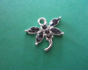 Shaped pendant Dragonfly with grey Rhinestones, silver color metal - 19mm x 20mm