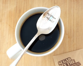 Hand stamped spoon, Coffee Spoon, Personalized Spoon, Gift Under 20, Personalized Gift, coffee, espresso yourself
