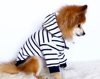 Navy striped Hoodie, Dog hoodie, Cute Dog clothes, Pet clothes, Fashion for dogs and puppies, puppy tshirt, pup pullover, tops for dogs,cats