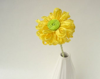 Bright Yellow Ribbon Flower Stem