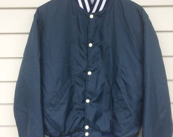 Vintage 80's dark blue nylon bomber jacket