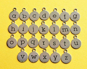 BULK 20 Stainless Steel Letter Charms - Choose Your Initial - Lowercase Alphabet - ALPHA1400BFS-IND-B