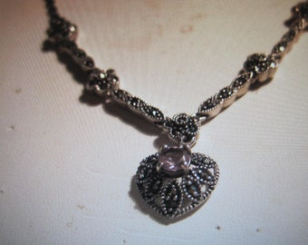 antique amethyst sterling necklace with marecusite