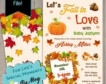 Let's Fall in Love Autumn Baby Shower Invitation- Printable file- Fall Baby Shower Invite