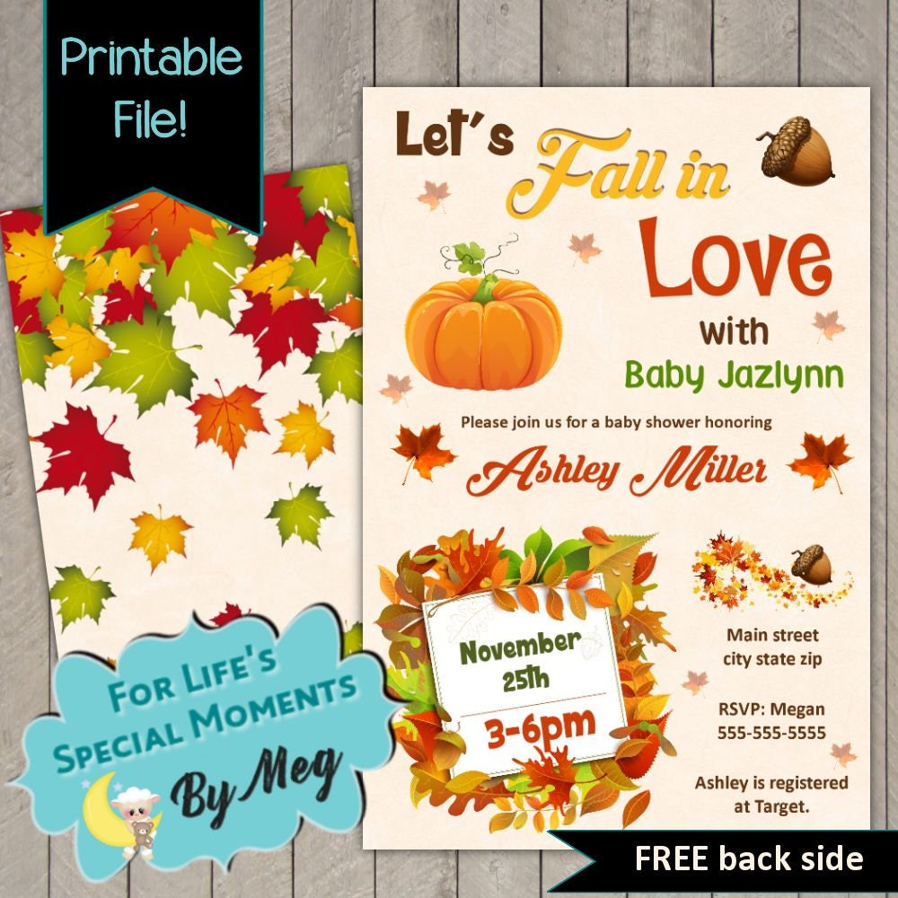 Let\'s Fall in Love Autumn Baby Shower Invitation