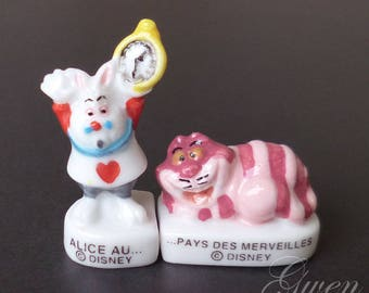 "Tiny 1"" Disney Alice in Wonderland The White Rabbit & Cheshire Cat Figurine Porcelain Miniature dollhouse cake doll french Feve topper charm"