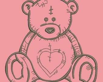 teddy bear embroidery, three sizes  - Machine Embroidery Design