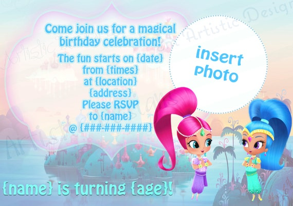 Individual shimmer and shine birthday party invitations individual shimmer and shine birthday party invitations envelopes included nick jr show a7 invitationphotograph printed for you filmwisefo Images