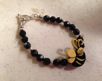 Bee Bracelet - Yellow and Black Jewelry - Silver Jewellery - Fashion - Fun