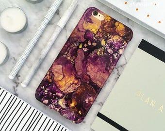Oil iPhone Case iPhone 8 Case iPhone 8 Plus Case iPhone 7 Case iPhone 7 Plus Case iPhone 6S Case iPhone 6S Plus Case Gloss Purple Yellow