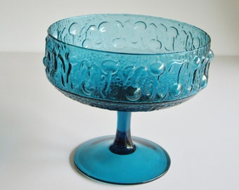 Sale, Vintage, Footed Bowl, Large Compote, Teal Blue, Turquoise, Glass Compote, Mid Century, Wayne Husted, Stelvia Italy, Pedestal bowl, MCM