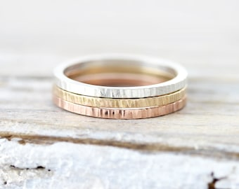Lined stacking rings in sterling silver, gold filled or rose gold filled