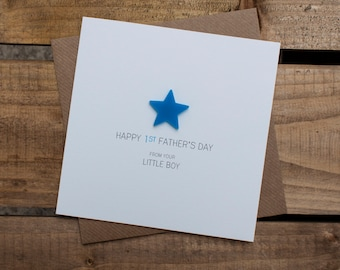 HAPPY 1st FATHERS DAY Card from your Little Boy with detachable magnet keepsake
