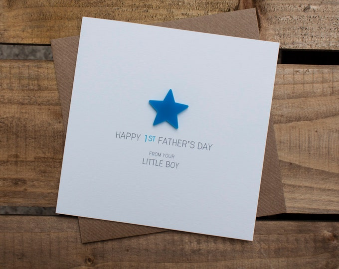 Featured listing image: HAPPY 1st FATHERS DAY Card from your Little Boy with detachable magnet keepsake