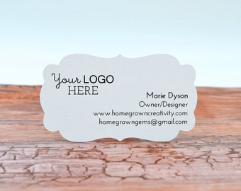 Custom Business Cards with Your Logo and Text - Ornate Cut - Recycled Paper Options | DS0122