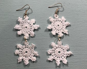 """Crochet doily drop earrings """"snowflake earring"""""""