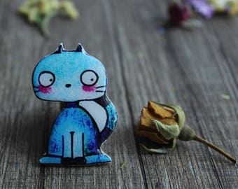 Cat brooch Cat jewelry Cat gifts|for|her Birthday gift|for|girlfriend Valentines day gift Girlfriend gift Anniversary gifts|for|friends blue