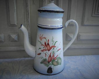 Enamel coffee pot, beautiful French vintage, Biggin orange flowers, 1930's, filter jug, cafétiere, enamelware, antique country kitchen chic