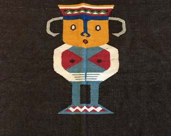 Vintage Ecuadorian Weaving Large Woven Textile Wall Hanging Colorful Man Wool