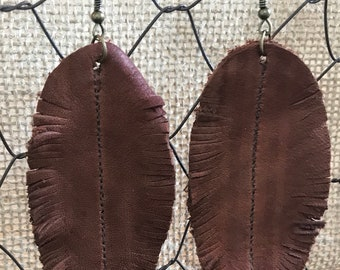 Cognac Feather Leather Earrings