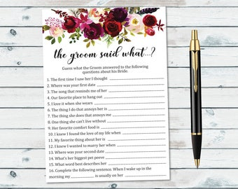 What Did The Groom Say, Bridal Shower The Groom Said What Printable, Floral Bridal Shower Ask The Groom, What Did He Say About His Bride