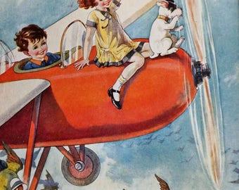 Vintage Nursery Print.// Nursery Artwork// Christening present //New Baby // Mid Century.