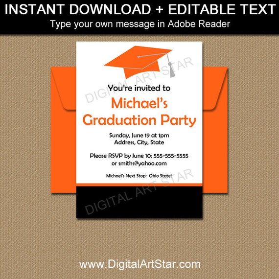 Graduation party invitation template high school graduation graduation party invitation template high school graduation invitation editable pdf class of 2018 grad party invite digital invitation g1 filmwisefo Images