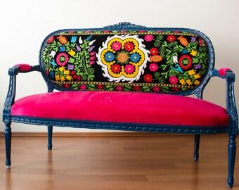 Antique Lounge Sofa with Handmade Fabric from Uzbekistan