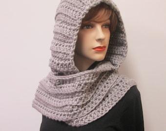 Gray Crochet Hoodie, Oversized Scarf, Gray Chunky Scarf Long Winter Scarf, Scarf Wiith Hood, Crochet Scoodie Scarves, Elizabeth B3-037