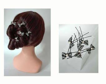 Quilted evening bun, black silver hair pin, hat woman wedding spike hair bow