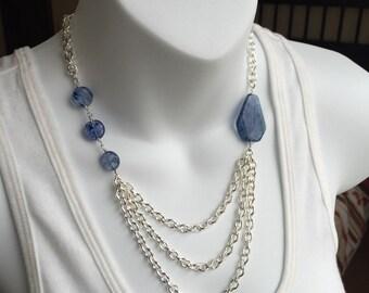 Blueberry quartz and silver chain