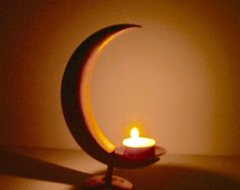 Moon Candle Holder, Crescent Moon, Copper Candle Holder, Wooden Candle  Holder, Copper
