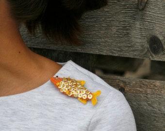 Goldfish crochet brooch - whimsical jewelry - fish pin