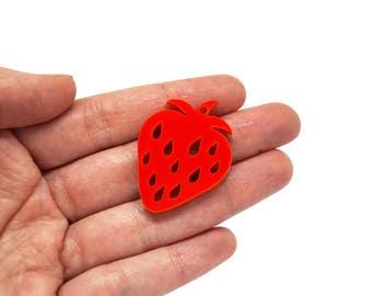 Strawberry jewellery supplies x5, Strawberries bijoux component, Strawberry earring, Strawberry pendant, Strawberry wood plexiglas - SET 5pz