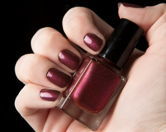 Murder of Crows nail lacquer - Deep glittering cranberry nail polish - The Columbia Collection - .45oz/13.2mL