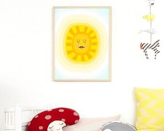 Sleepy Eyes Sun Print, Scandinavian Nursery Art Print, Yellow Sun Nursery Print, Minimalist Nursery Decor, Kids Room Art, Kids Printable Art
