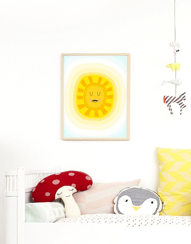 Sleepy Eyes Sun Print Scandinavian Nursery Art Print Yellow